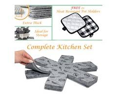 Trivet Mat Hot Pads/Pot and Pan Protectors with Free Cotton Pot Holders - New 2020 Kitchen Set