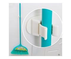 Multifunction Broom Mop Hook Pole Holder Spring Clip Design