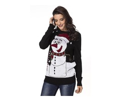 HESSZ New Arrival Christmas Reindeer Crew Neck Long Sleeve Sweater for Women