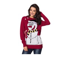 Women Winter Long Sleeve Outerwear Coats Cardigan Snowman Crew Neck Knit Sweater