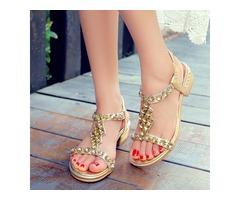 Diamond Elastic Band Flat Sandals