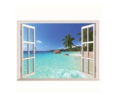 3D Hawaii Holiday Sea View Beach Window View Decal Wall Sticker