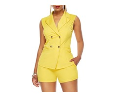 Button Plain Double-Breasted Notched Lapel Womens Two Piece Sets