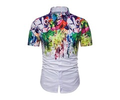 Color Block Print Lapel Summer Mens Shirt