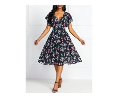 Print Knee-Length Sleeveless Vintage Floral Womens V-Neck Dress