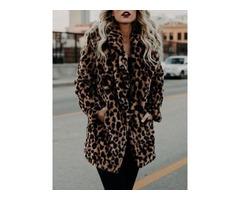 Leopard Print Mid-Length Womens Faux Fur Overcoat
