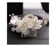Silk Flower Design with Rhinestone Wedding Hairpin