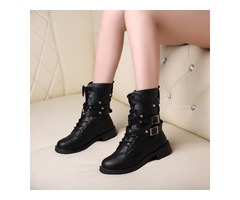 Black Rivets Lace-Up Womens Motorcycle Boots