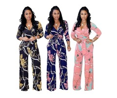 HESSZ floral high quality sexy ladies fitness long sleeve jumpsuit
