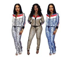 2019 Sexy Winter Two Piece Set Top and Pants Long Sleeve Womens Tracksuit