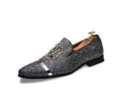 Sequin Rivet Pointed Toe Slip-On Mens Dress Shoes