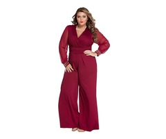 Wine Embellished Cuffs Long Mesh Sleeves Women Jumpsuit