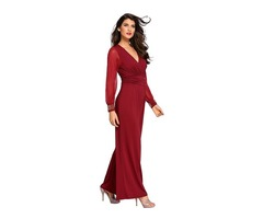 Wine Embellished Cuffs Long Mesh Sleeves Women Jumpsuit  | free-classifieds-usa.com