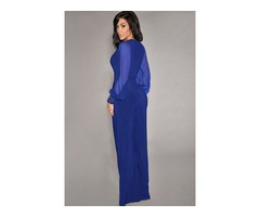 Blue Embellished Cuffs Long Mesh Sleeves Jumpsuit    free-classifieds-usa.com