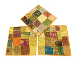 "Set Of 3 Cushion Covers Vintage Yellow Patchwork Decorative Pillow Cover Bohemian Decor 16"" x"