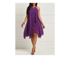Sleeveless Plain Patchwork Womens Bodycon Dress