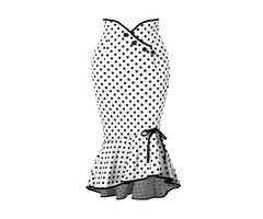Polka Dots Mermaid Bowknot Womens Skirt