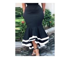 Color Block Falbala Floor-Length Sexy Womens Skirt