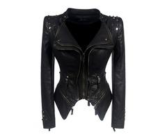 Black Skinny Rivet Lapel Short Plus Size Womens PU Jacket