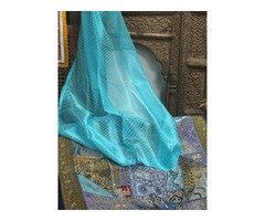 3 Moroccan Indi Boho Curtains Turquoise Blue Curtain Panel Golden Tab Top Organza Window Treatment 9