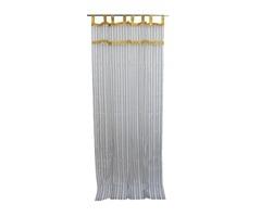 2 Panel White Curtain Stripe Golden Drapes Tab Top Bedroom Decor Organza