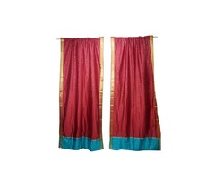 2 Red Sheer Sari Curtain Rod Pocket Panel Door Drape Home Decor Window Treatment 96X44