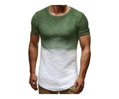 Gradient Color Slim Fit Short Sleeve Mens T-shirt