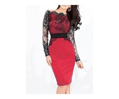 Long Sleeve Knee-Length Lace Womens Bodycon Dress