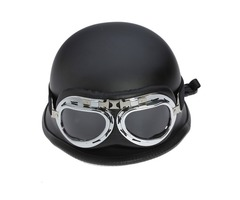 Black 59-60cm/23.2-23.6in Motorcycle Half Face Helmet With Removable Goggle Cruiser Biker Matte