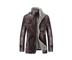Stand Collar Plain Stylish Mens Leather Jacket