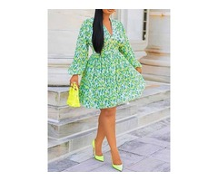 Print Long Sleeve A-Line Floral Womens V-Neck Dress