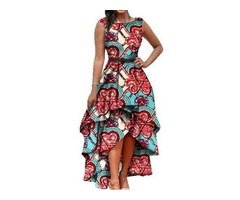 African Fashion Sleeveless Round Neck Ankle-Length Asymmetrical Womens Dress
