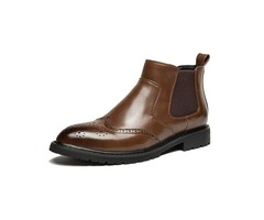 PU Round Toe Block Heel Mens Boots