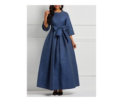 Floor-Length Plain Denim Womens A-Line Dress