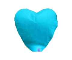 10pcs Heart-shaped Fireproofing Paper Flying Sky Chinese Lanterns Blue