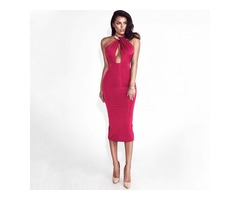 Red Hollow Out Party Bodycon Bandage Dress Women Off Shoulder Choker Long Pencil Dress Sexy Backless