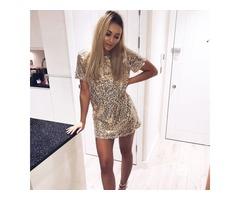 Sequins Gold Dress Summer Women Sexy Short T Shirt Dress Evening Party Elegant Club Dresses - S