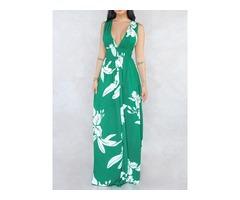 Floor-Length V-Neck Pleated Sleeveless Womens Maxi Dress