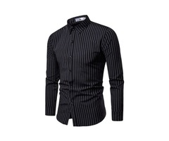 Lapel Stripe Mens Casual Shirt