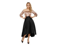 Plain Asymmetrical Ankle-Length Skirt