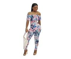 Off shoulder sexy ladies fitness short sleeve print jumpsuit | free-classifieds-usa.com