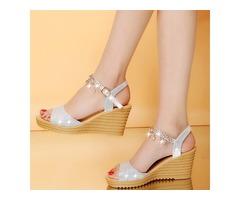 PU Rhinestone Chain Wedge Heel Womens Sandals