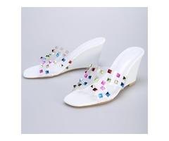 Slip-On Colorful RIvet Womens Sandals