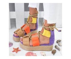 Open Toe Heel Covering Lace-Up Platform Sandals