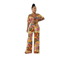 Off shoulder women fashion floral sexy jumpsuit rompers