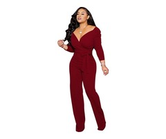 Fashion Rompers Women's Jumpsuit Lady V-neck Jumpsuit 2019