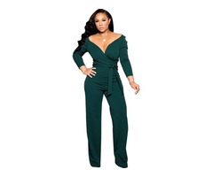 Newest Long Sleeve Fashion Women Ladies Jumpsuit Green Formal Jumpsuits