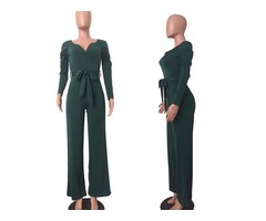 Newest Long Sleeve Fashion Women Ladies Jumpsuit Green Formal Jumpsuits   free-classifieds-usa.com