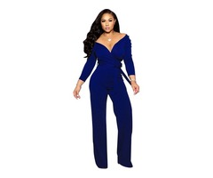 Hot Selling Long Sleeve Solid Color V-Neck One Piece Jumpsuit for Women  | free-classifieds-usa.com