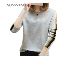 2019 NEW FASHION O-NECK LONG SLEEVE T SHIRT WOMEN TOPS COTTON TEE SHIRT FEMME